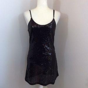 Black Sequin Slip Mini Low Back Dress